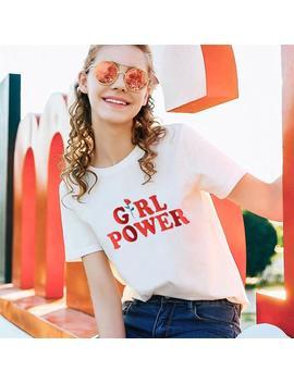 Girl Power Letter Red Rose Printed Aesthetic T Shirt by Aestheti Cat