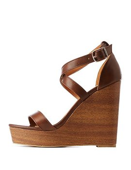 Crisscross Wood Wedge Sandals by Charlotte Russe