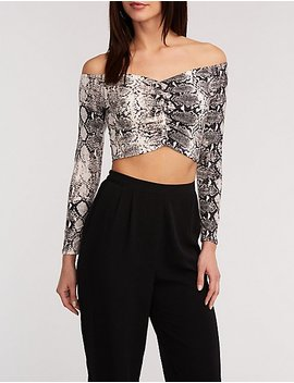 Off The Shoulder Snakeskin Crop Top by Charlotte Russe