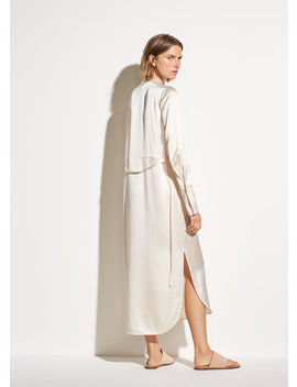 Band Collar Silk Shirt Dress by Vince