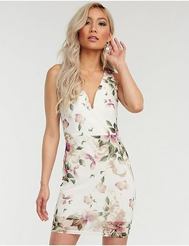 V Wired Floral Bodycon Dress by Charlotte Russe