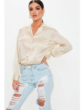 nude-satin-pyjama-style-shirt by missguided