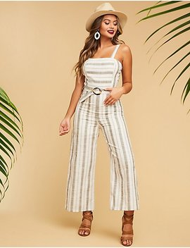 Striped Belted Jumpsuit by Charlotte Russe