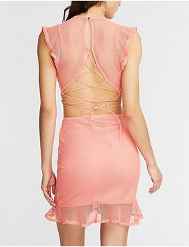 Mesh Lace Up Bodycon Dress by Charlotte Russe