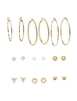 Assorted Stud &Amp; Hoop Earrings   9 Pack by Charlotte Russe