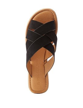 Four Band Crisscross Slide Sandals by Charlotte Russe