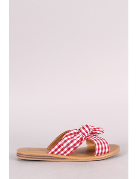 Qupid Knotted Bow Accent Cross Band Slide Flat Sandal by Urbanog