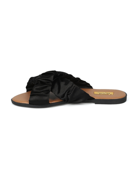 Women Satin Open Toe Cross Band Flat Slide by Urbanog