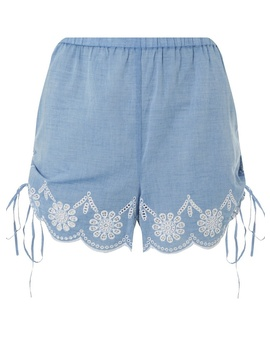 *Dp Beach Chambray Broderie Beach Shorts by Dorothy Perkins