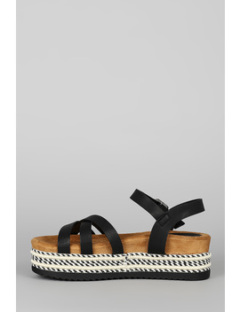 Open Toe Striped Flatform Sandal by Urbanog