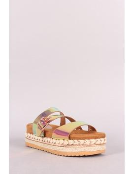 Triple Straps Slide Flatform Sandal by Urbanog