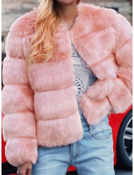 Pink Faux Fur Long Sleeve Chic Women Coat by Choies