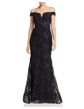 off-the-shoulder-embellished-lace-gown---100%-exclusive by aqua