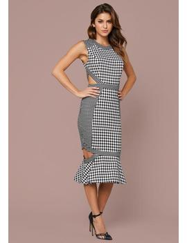 Mixed Check Cutout Dress by Bebe
