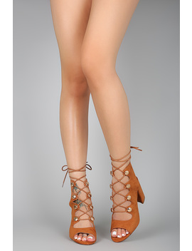 Button Hardware Lace Up Open Toe Chunky Heel by Urbanog