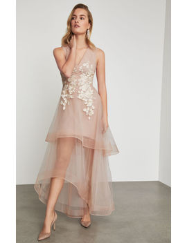 Metallic Lace Applique Gown by Bcbgmaxazria