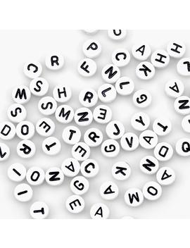 Alphabet Beads 7mm 150/Pkg White Round W/Black Letters by Darice