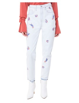 Wildflower Embroidered Girlfriend Jean by Juicy Couture
