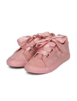 Faux Suede Round Toe Ribbon Lace Up Low Top Sneaker by Urbanog
