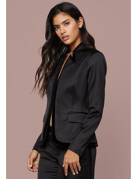 Velvet Trim Satin Blazer by Bebe