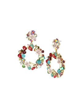 Opulent Floral Gypsy Hoop Earrings Multi by Betsey Johnson