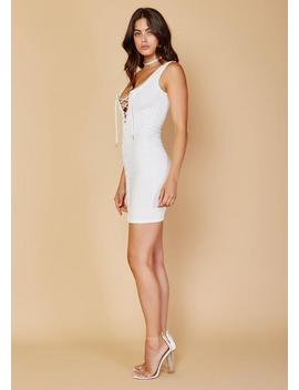 Lace Up La Renta Dress   White by Luxe Fashion Label