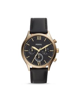 Fenmore Midsize Multifunction Black Leather Watch by Fossil