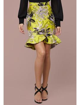 Wrap Ruffle Jacquard Skirt by Bebe