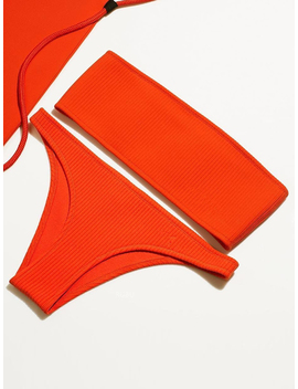 Red Bandeau Ribbed Bikini Top And Bottom by Choies