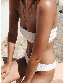 White Bandeau Ribbed Bikini Top And Bottom by Choies