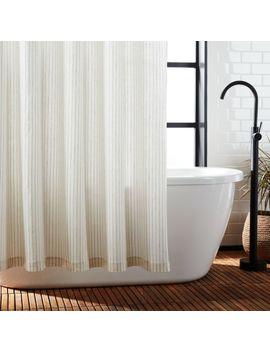 Black Stripe Linen Shower Curtain by Crate&Barrel