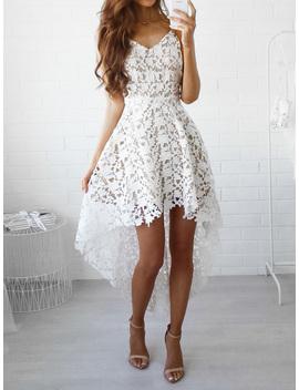 White V Neck Dipped Hem Spaghetti Straps Cami Lace Dress by Choies