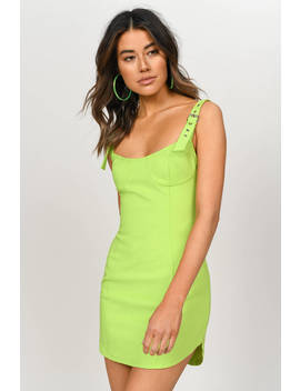 Kiki Slime Green Buckle Strap Bodycon Dress by Tobi
