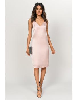 Drape Down Blush Satin Midi Dress by Tobi