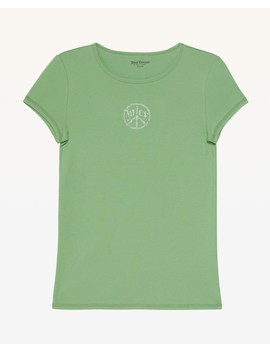 Crystal Juicy Peace Ribbed Tee by Juicy Couture