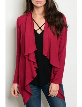Burgundy L/S Cardigan by Ooh La La Boutique , Texas