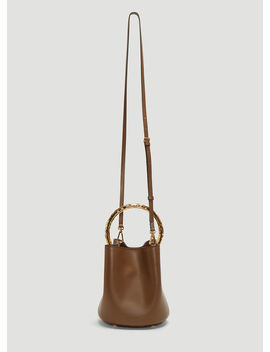 Pannier Leather Bucket Bag In Brown by Marni