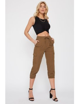 Twill High Rise Cropped Cargo Jogger by Urban Planet