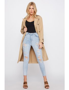 Cali High Rise Distressed Light Wash Cropped Skinny Jean by Urban Planet