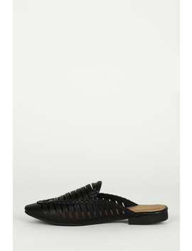 Top Stitch Strappy Braided Trim Flat Loafer Mule by Urbanog