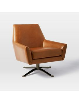 Lucas Leather Swivel Base Chair by West Elm