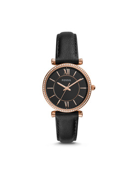 Carlie Three Hand Black Leather Watch by Fossil