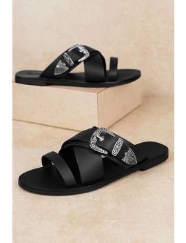 Sol Sana Cassidy Black Buckle Slide by Tobi
