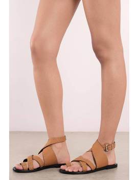 Sol Sana Vesper Tan Studded Strappy Sandals by Tobi
