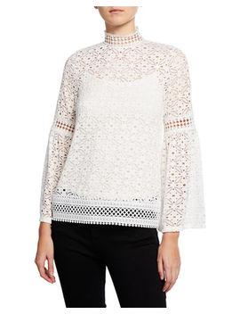Mocke Neck Bell Sleeve Crochet Blouse by Neiman Marcus