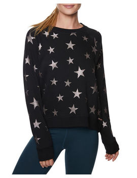 Star Glitter Print Sweatshirt by Betsey Johnson