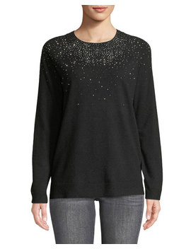 Crystal Embellished Crewneck Sweater by Iconic American Designer
