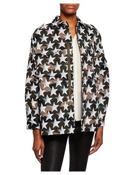 Camo Star Print Blouson Sleeve Jacket by Valentino