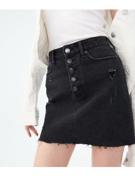 High Waisted Black Wash Denim Skirt by Aeropostale