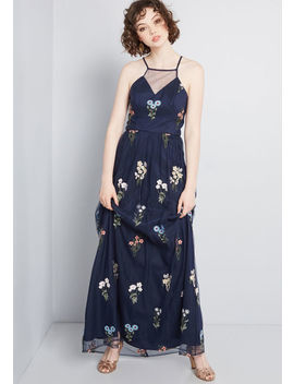 Wildflower Flow Embroidered Maxi Dress by Chi Chi London